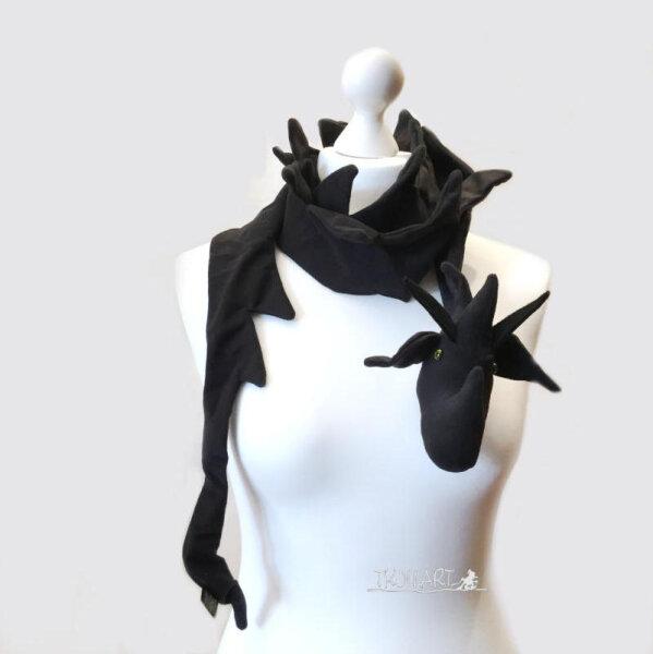 Drachenschal, schwarz, Fleece