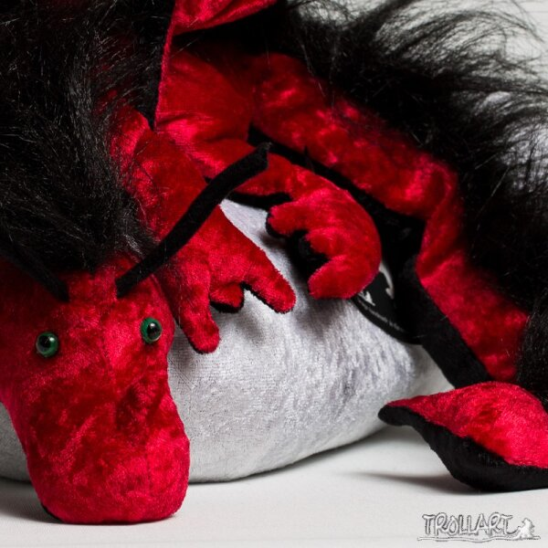 Shoulder dragon XXL, dark red, plushy crest
