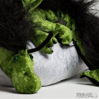 Shoulder dragon XXL, pea green, plushy crest