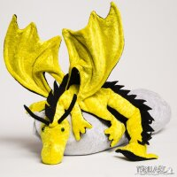 Shoulder dragon XXL, bright yellow, spiky crest