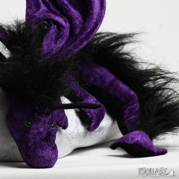 Shoulder dragon XXL, purple, plushy crest