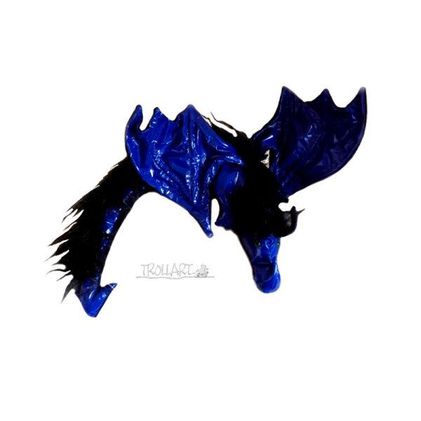 Shoulder dragon XXL, blue patent leather, plushy crest