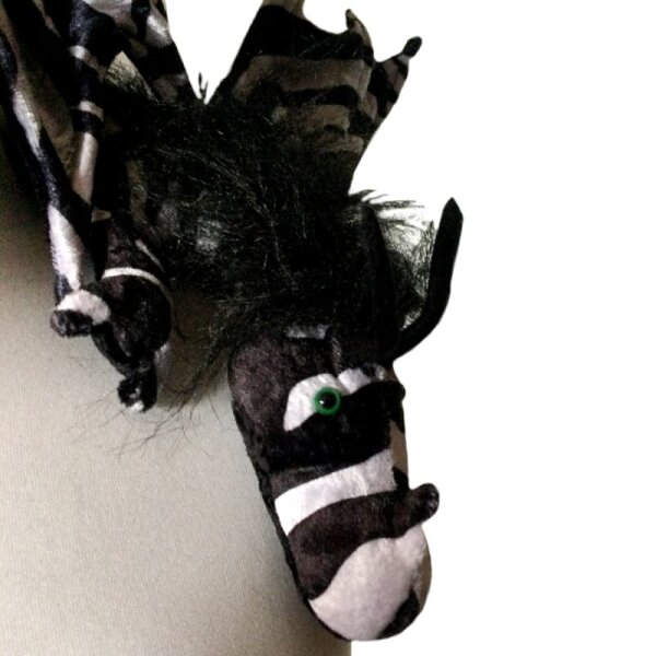 Shoulder dragon XXL, zebra pattern, plushy crest