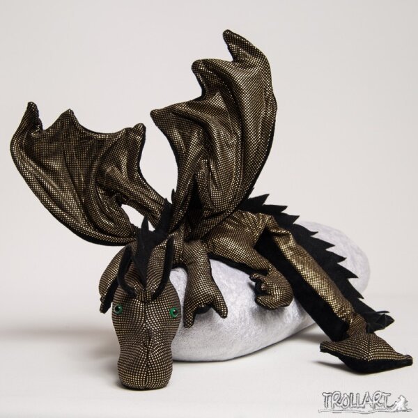 Shoulder dragon XXL, Special Ed., black-gold, spiky crest