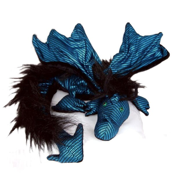 Shoulder dragon XXL, Special Ed., black-turquoise shimmer, plushy crest