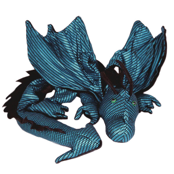 Shoulder dragon XXL, Special Ed., black-turquoise shimmer, spiky crest