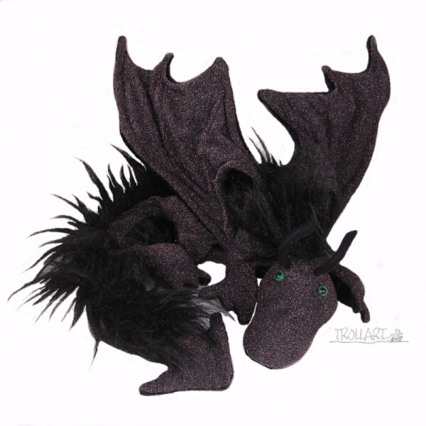 Shoulder dragon XXL, Special Ed., black & purple shimmer, plushy crest