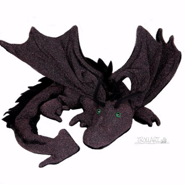 Shoulder dragon XXL, Special Ed., black & purple shimmer, spiky crest