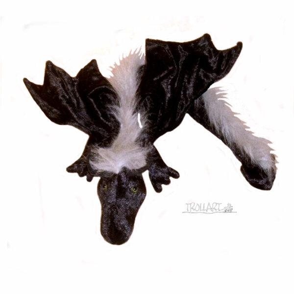 Shoulder dragon XXL, black with a grey plushy crest