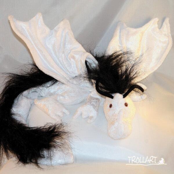 Shoulder dragon XXL, full white, black plushy crest, red eyes