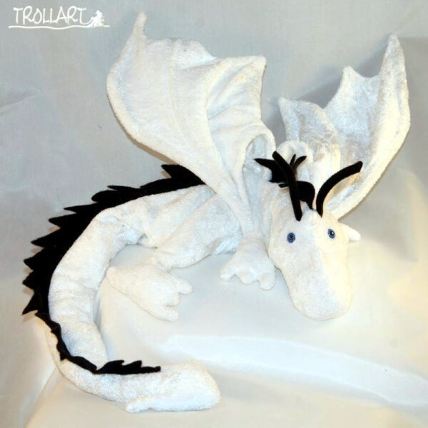 Shoulder dragon XXL, full white, black spiky crest, blue eyes
