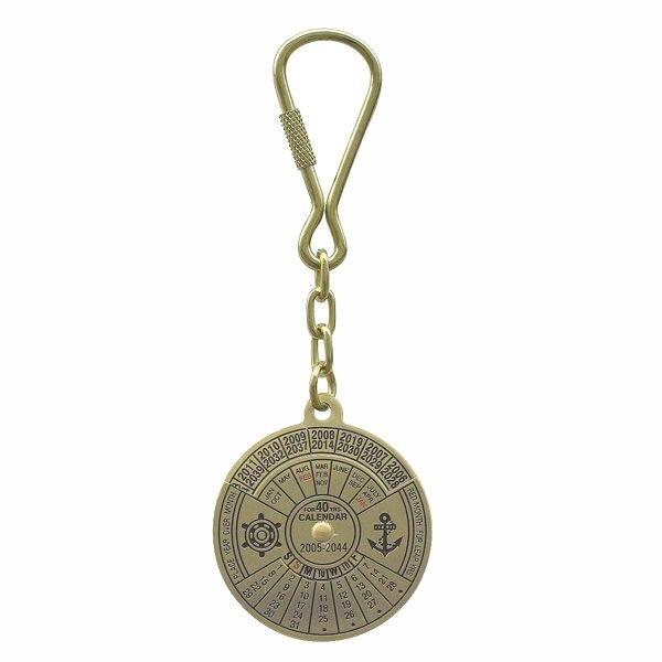 Key fob calendar, brass
