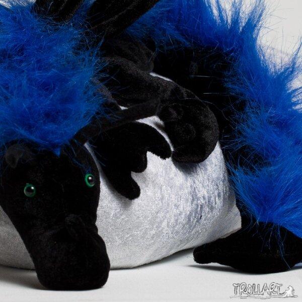 Schulterdrache XXL, schwarz mit blauem Plüschkamm