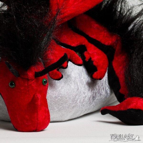 Shoulder dragon XXL, red, plushy crest
