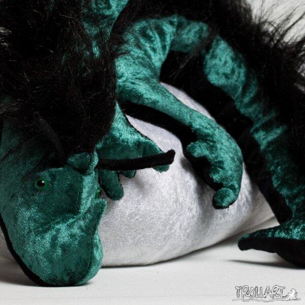 Shoulder dragon XXL, dark green, plushy crest