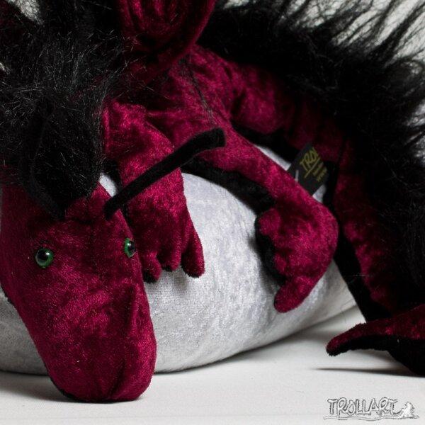 Shoulder dragon XXL, bordeaux, plushy crest