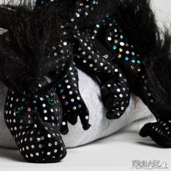 Shoulder dragon XXL, Special Ed., sequin black, plushy crest