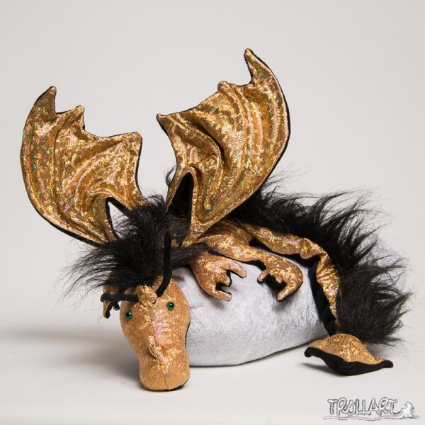 Shoulder dragon XXL, Special Ed. holo lizard gold, plushy crest