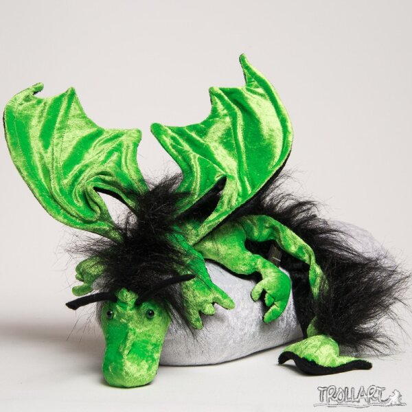 Shoulder dragon XXL, poison green, plushy crest