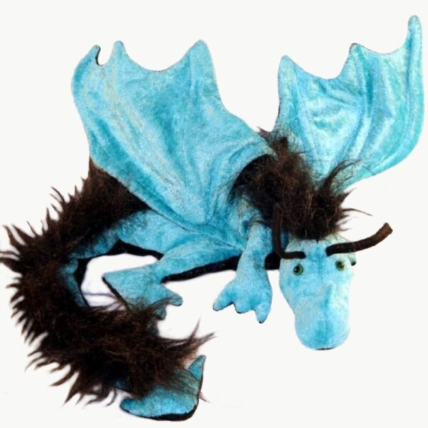 Shoulder dragon XXL, turquoise, plushy crest