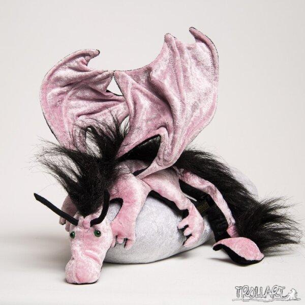 Shoulder dragon XXL, pink, plushy crest