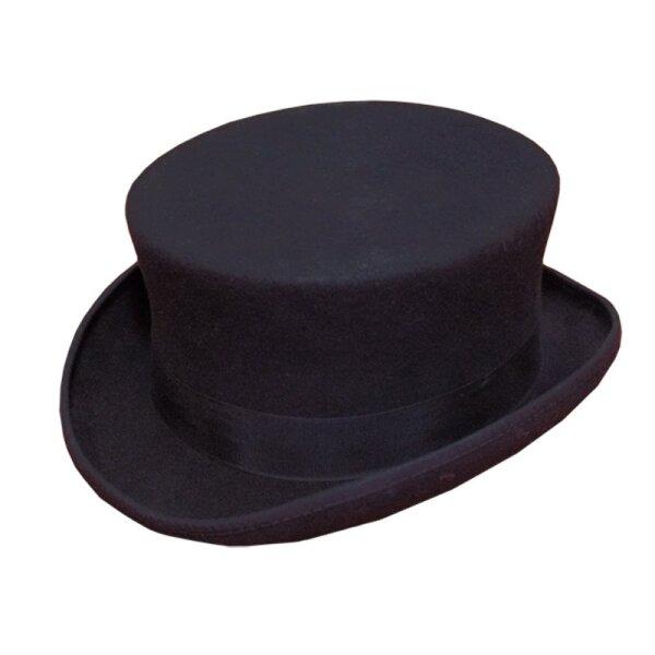 Zylinder, Top-Hat, 100% Wollfilz, Seidenfutter, Hoehe 11cm, Gr. 58
