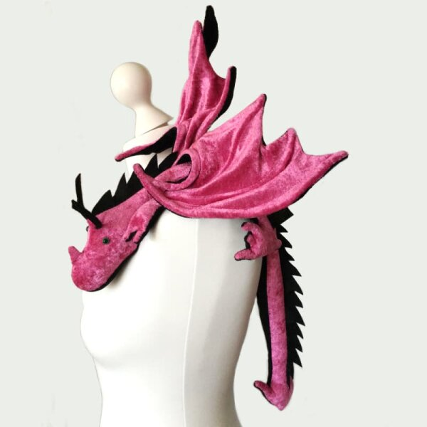 Shoulder dragon XXL, pink, spiky crest