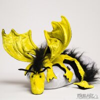 Shoulder dragon XXL, bright yellow, plushy crest