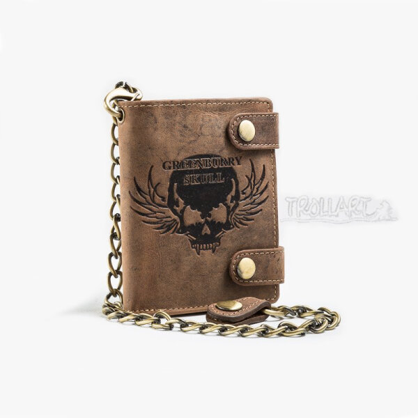 Combination wallet skull, chain, leather, by Greenburry