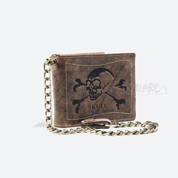 Bank note wallet, Skull, with chain, leather