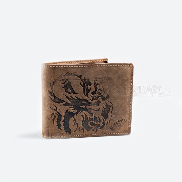 Bank note wallet dragon, vintage style, leather, by Greenburry