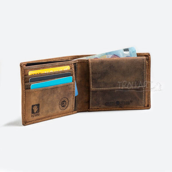 Bank note wallet, flat, leather