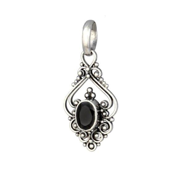 Black Zirconia Pendant, Silver 925, incl. Chain