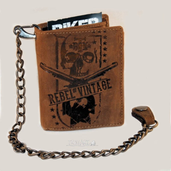 Combination wallet, Billy the Kid, Skull, vintage style, leather