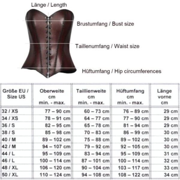 Corset, leather, black, 44 inch