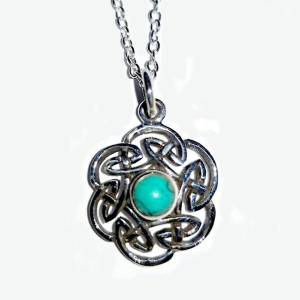 Keltischer Knoten, Anhänger m. Türkis, Silber 925,  inkl. Kette