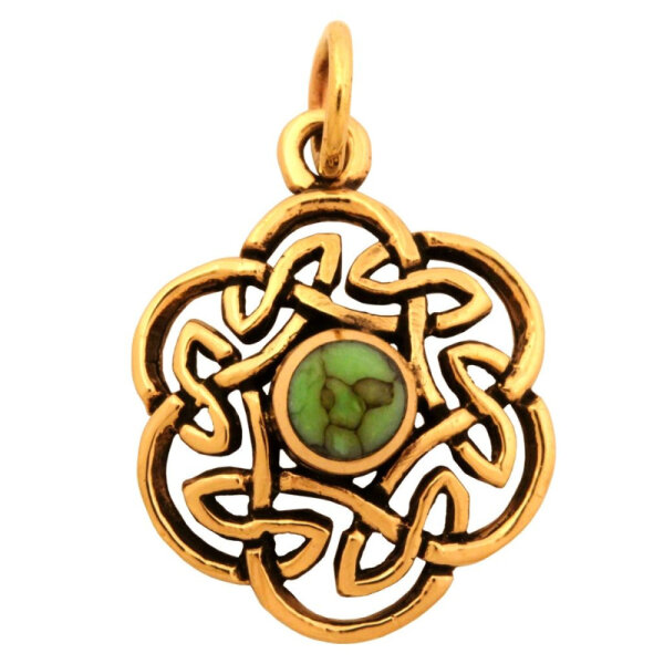 Turquise, Bronze pendant, incl. ribbon