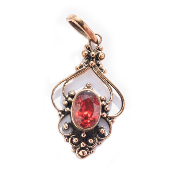 Bronze Pendant, red crystal, incl. ribbon