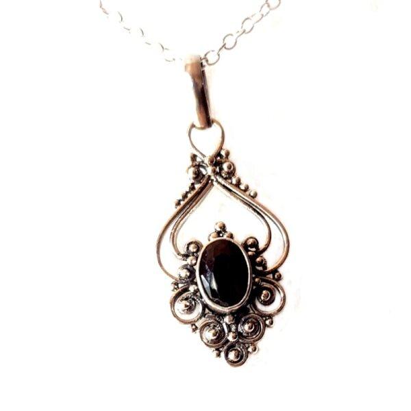 Onyx Pendant, Silver 925, incl. Chain