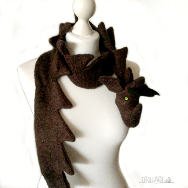 Dragon scarf, brown with glitter
