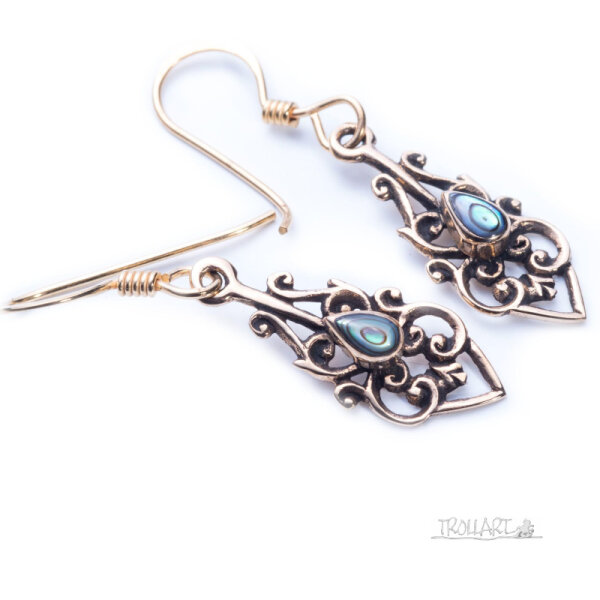 Ear Dropper Ninia, Abalone Shell, Bronze