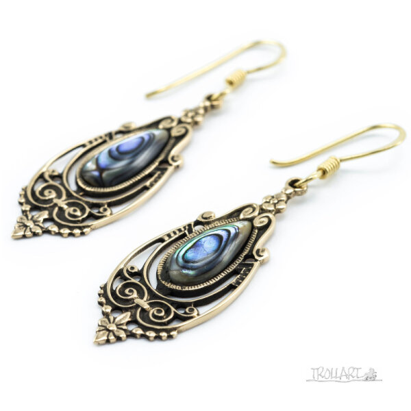 Ear Droppers Talina, Abalone, Bronze