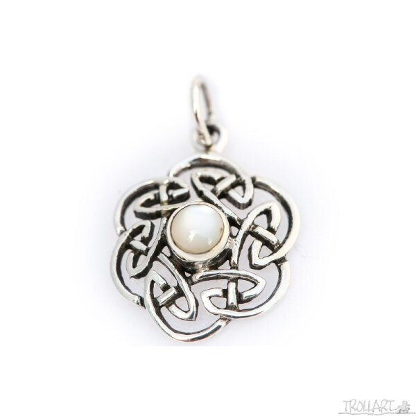 Celtic Knot Pendant, White Shell, Silver 925, incl. Chain