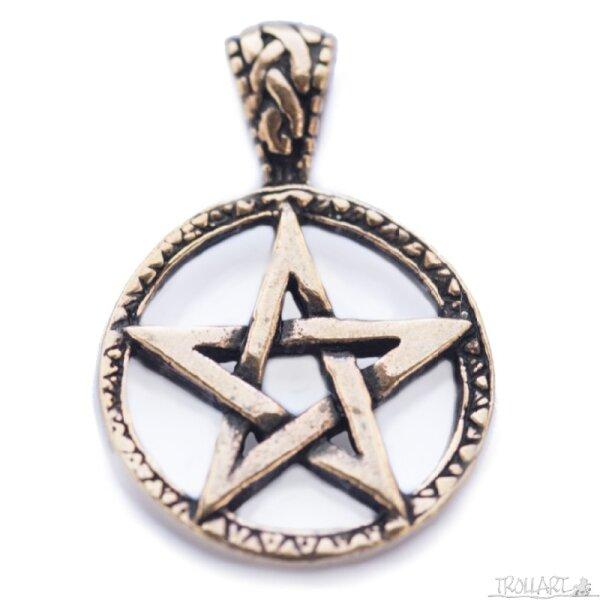 Celtic Pentagram, Bronze pendant, incl. ribbon