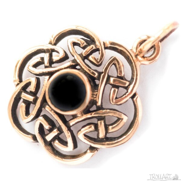 Celtic Knot, Onyx, Bronze Pendant, incl. ribbon