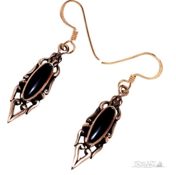 Ear Droppers Liza, Bronze, Onyx