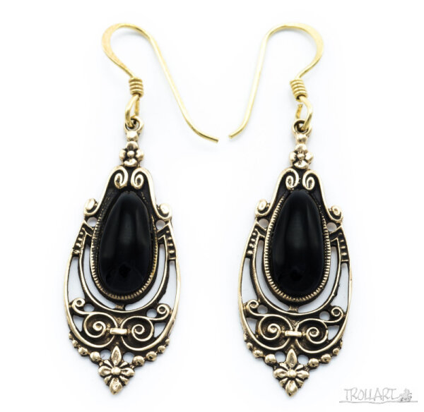 Ear Droppers Talina, Onyx, Bronze