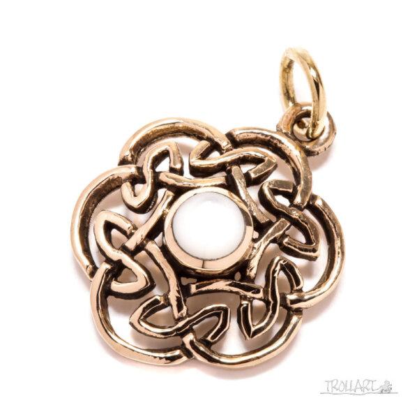 Celtic Knot, Nuada, Bronze, White Shell, incl. ribbon