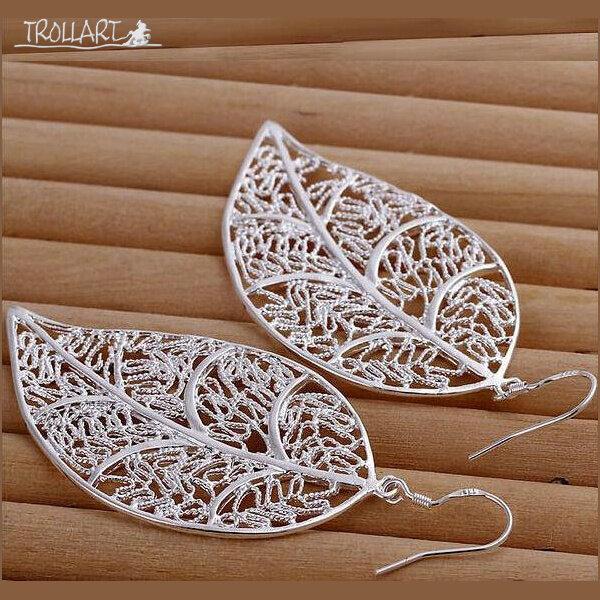 Earrings, Hollow Leaf, Silver 925