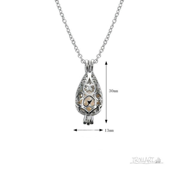 Freshwater Pearl Cage Pendant Necklace, Silver plated